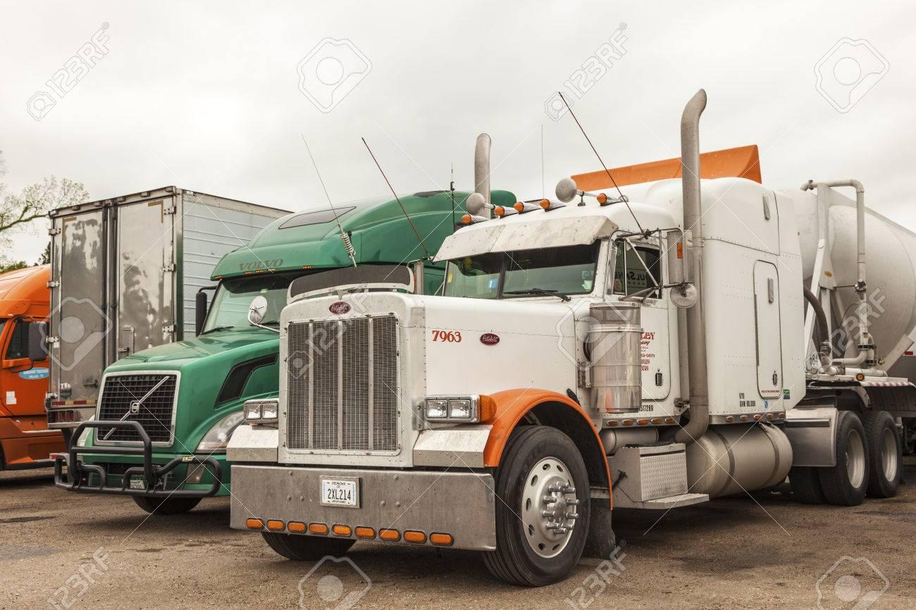 new orleans, la, usa - apr 17, 2016: peterbilt and volvo trucks