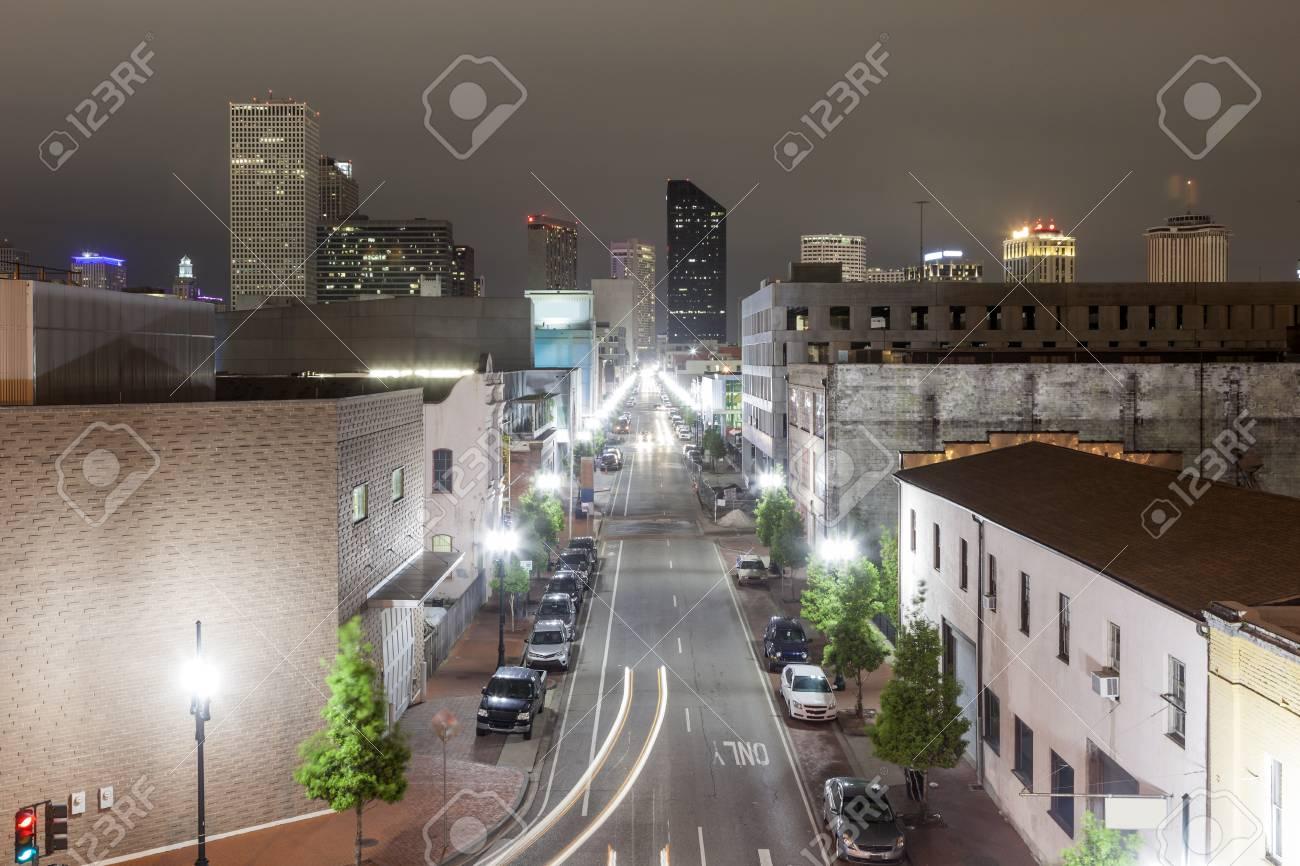 Street In The City Of New Orleans Illuminated At Night Louisiana