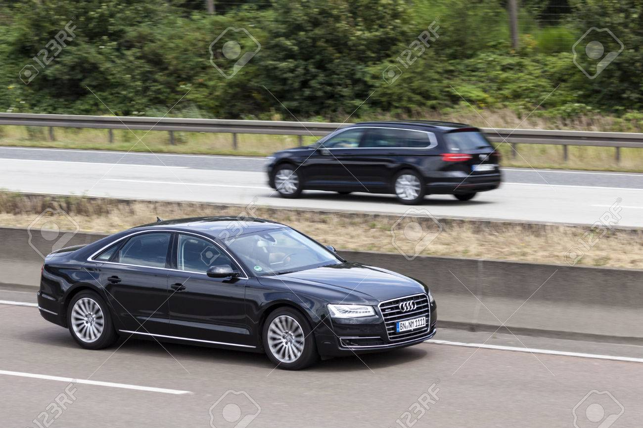 Frankfurt Germany July 12 2016 Black Audi A8 Quattro Luxury