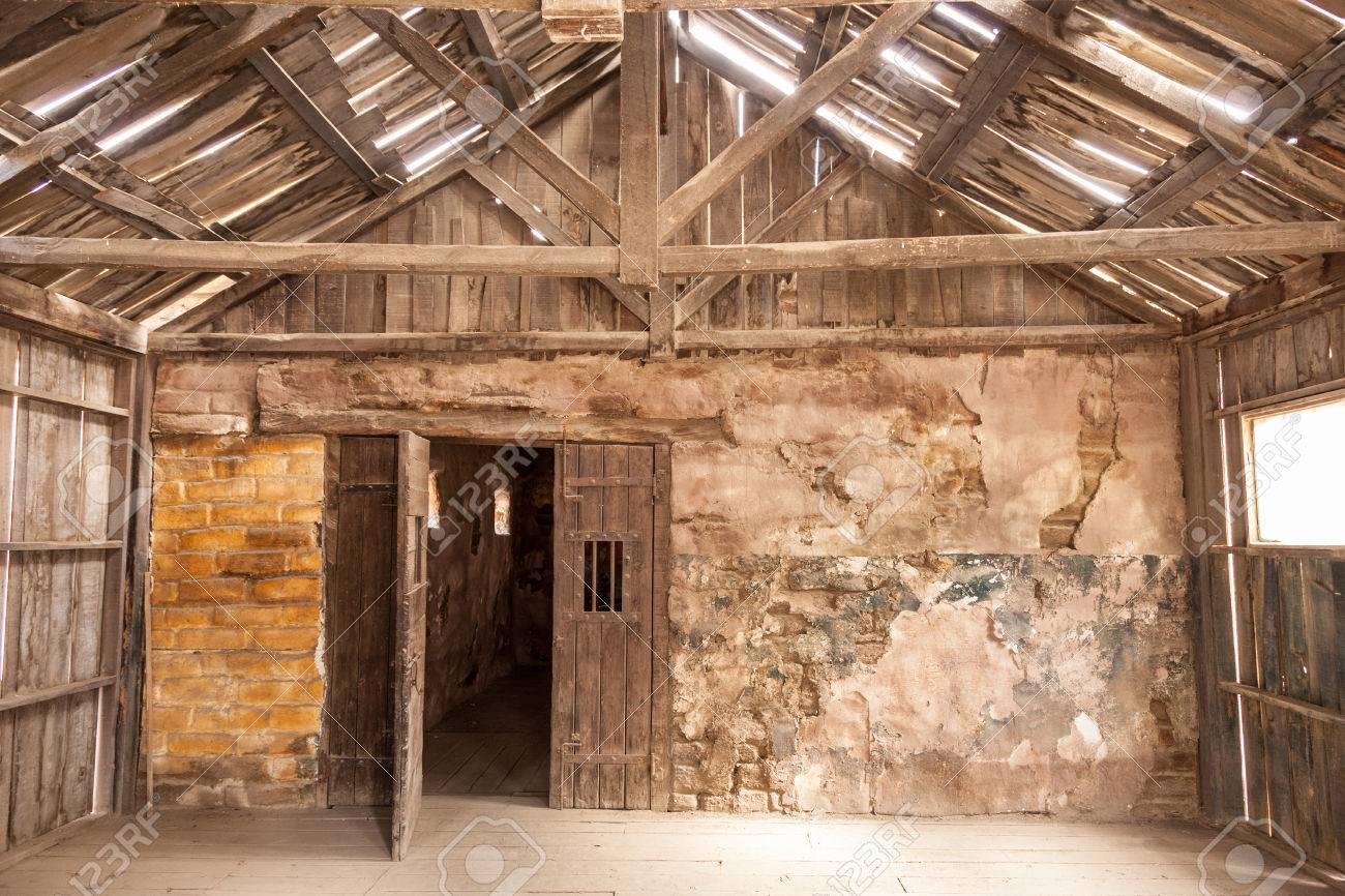 Interior Of An Old Abandoned Wooden House Stock Photo
