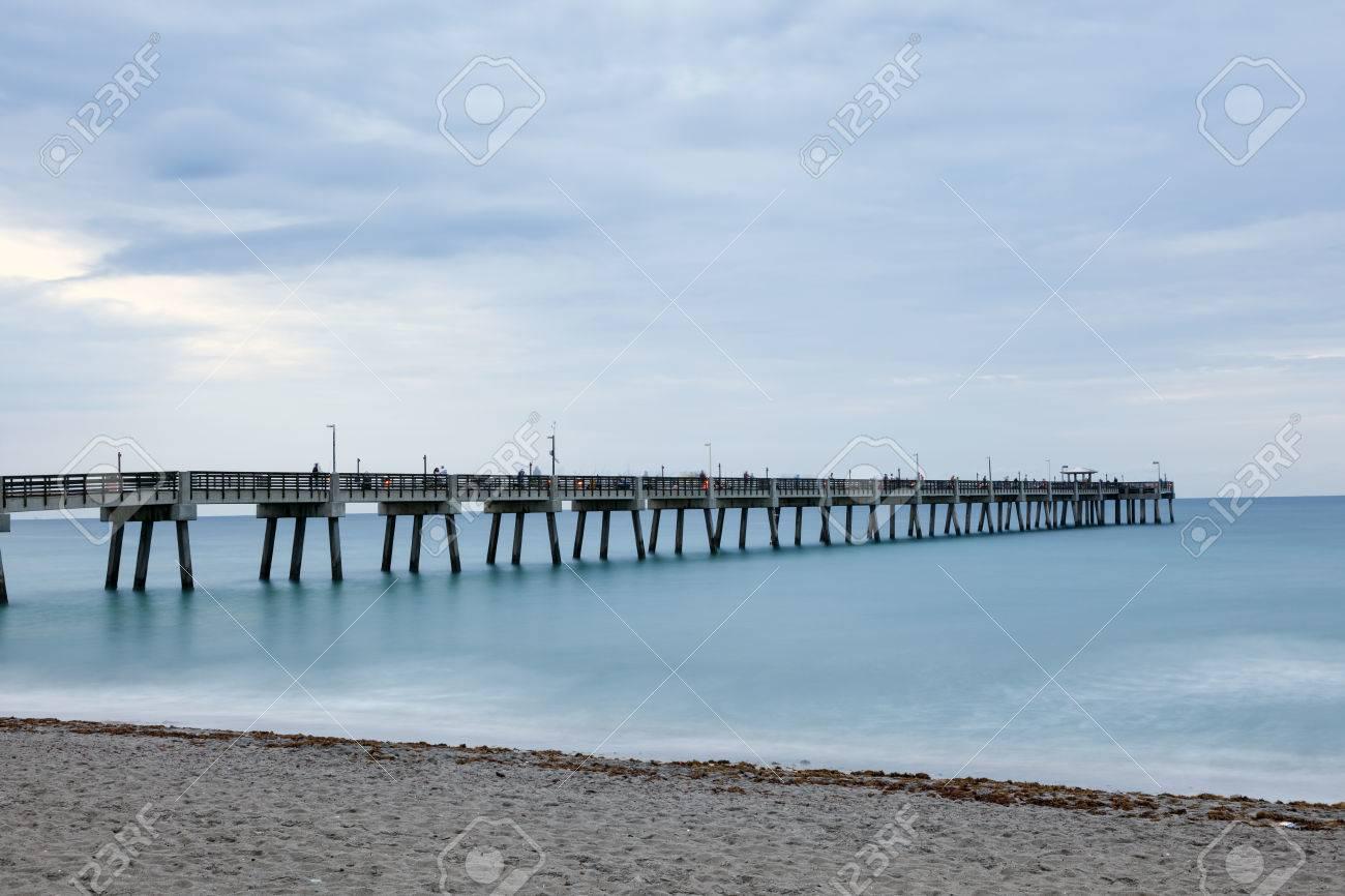 Dania Beach Fishing Pier At Dusk Hollywood Beach Florida United