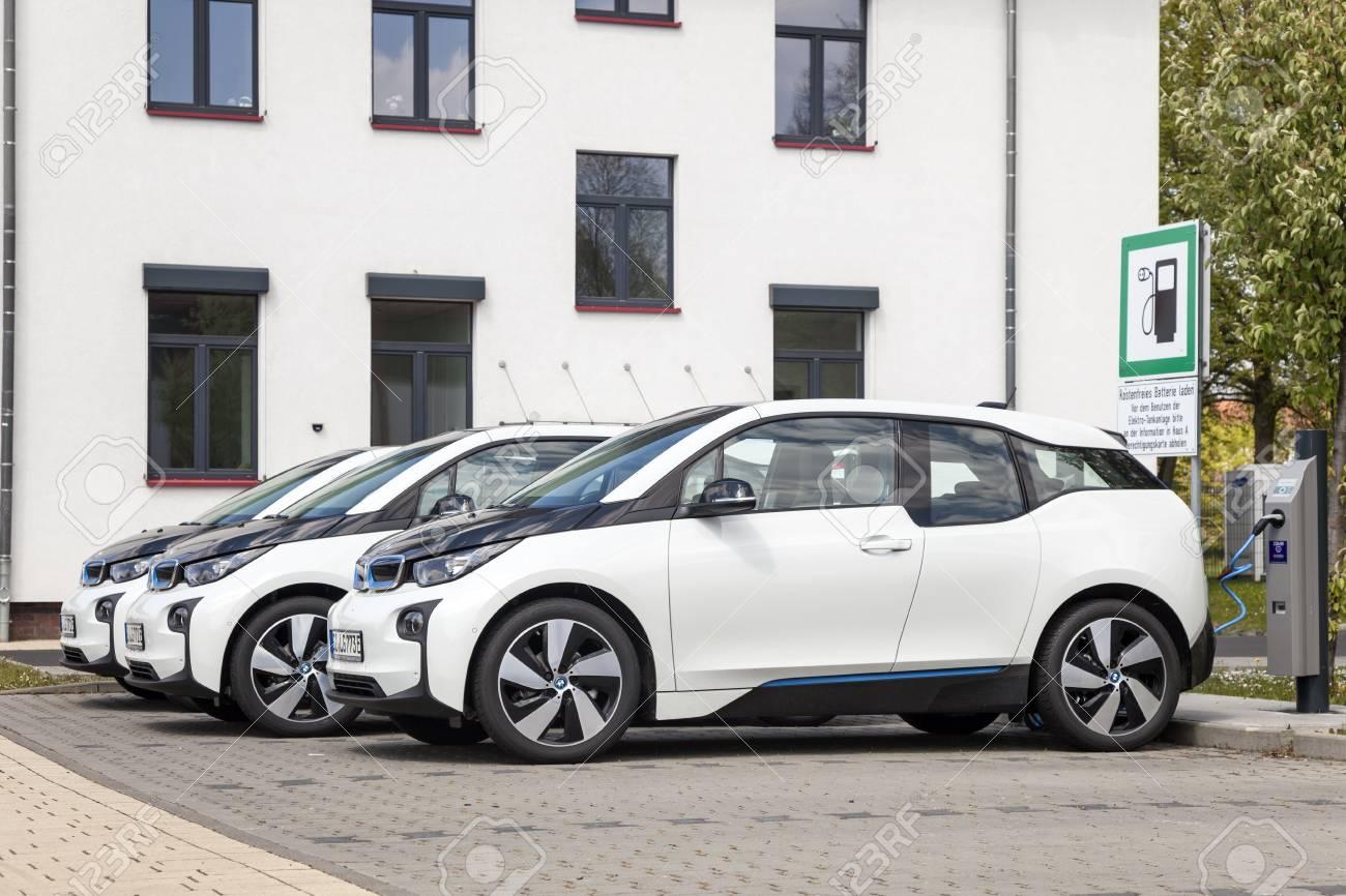 Frankfurt Germany March 30 2017 Three Bmw I3 Electric Vehicles