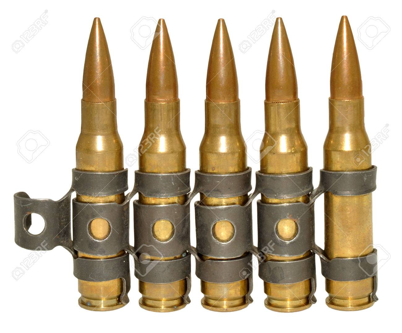 Five rounds of 303 calibre bullets, isolated