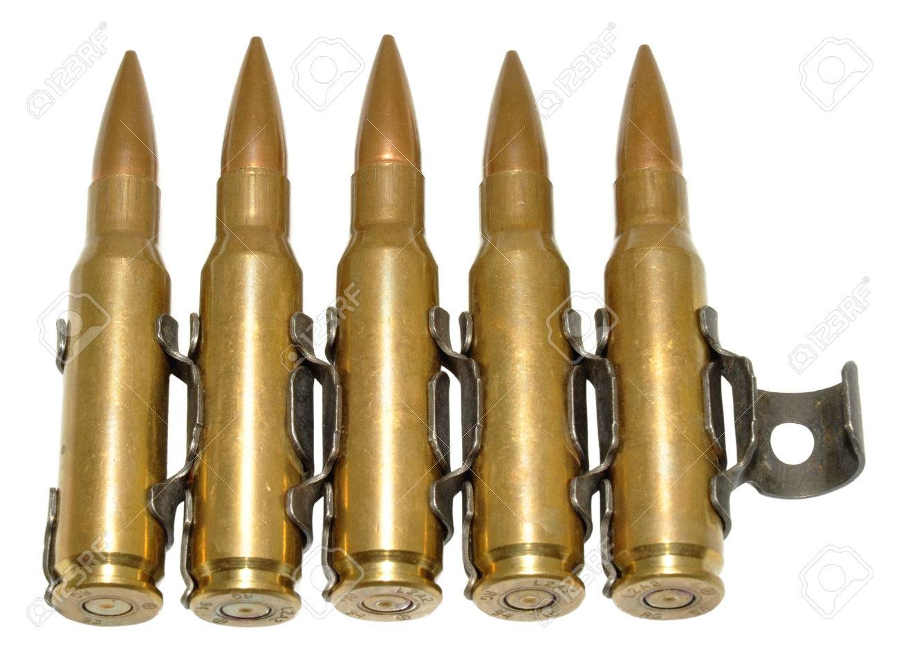 Five Rounds Of 303 Calibre Bullets, Isolated Stock Photo, Picture