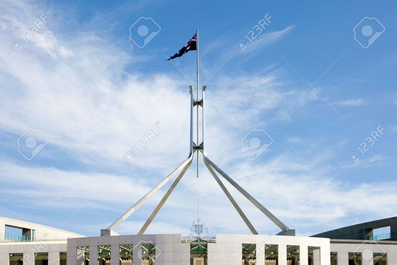The Australian flag, atop Parliament House, Canberra, Australia