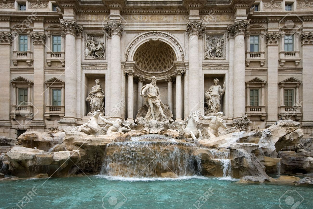 Water fountains with statues - Stock Photo The Trevi Fountain Rome Italy Featuring The Statue Of Oceanus The God Of Water