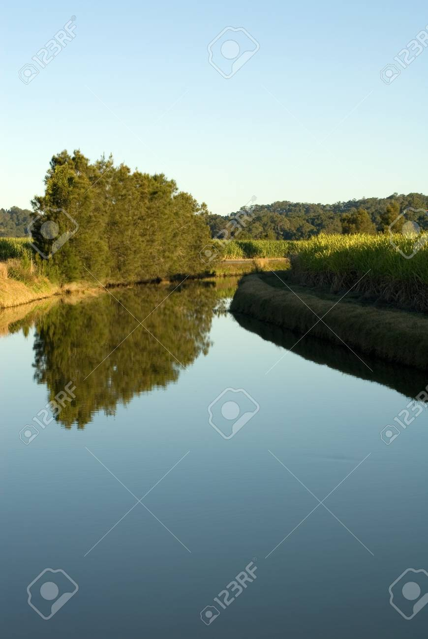 A late afternoon irrigation canal scene, adjacent to a Sugar Cane field Stock Photo - 7405751