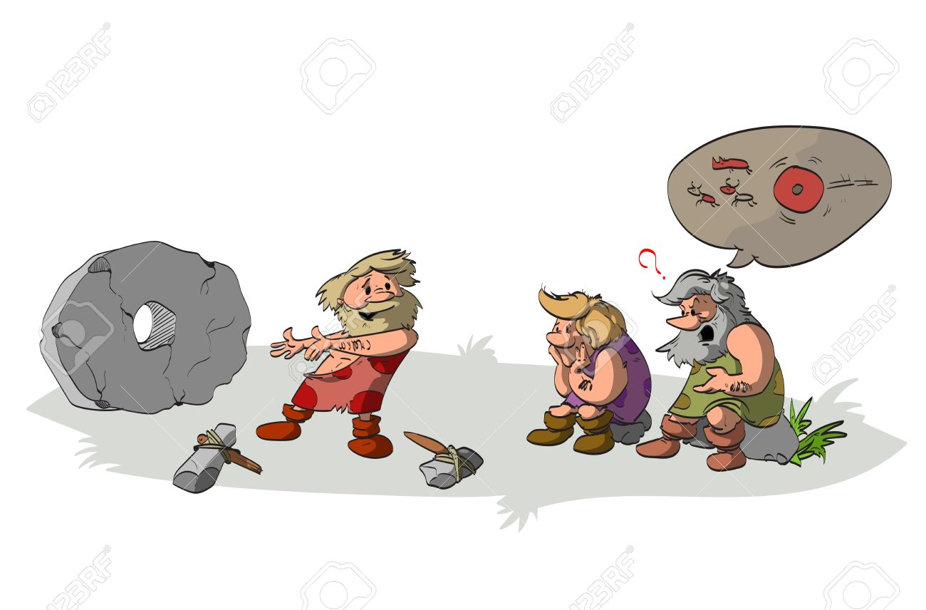 Cartoon vector illustration of a cavement inventing and presenting the wheel to his ignorant and stupid tribesmen and friends, who does not understand the aplications of the genious invention. - 66756890