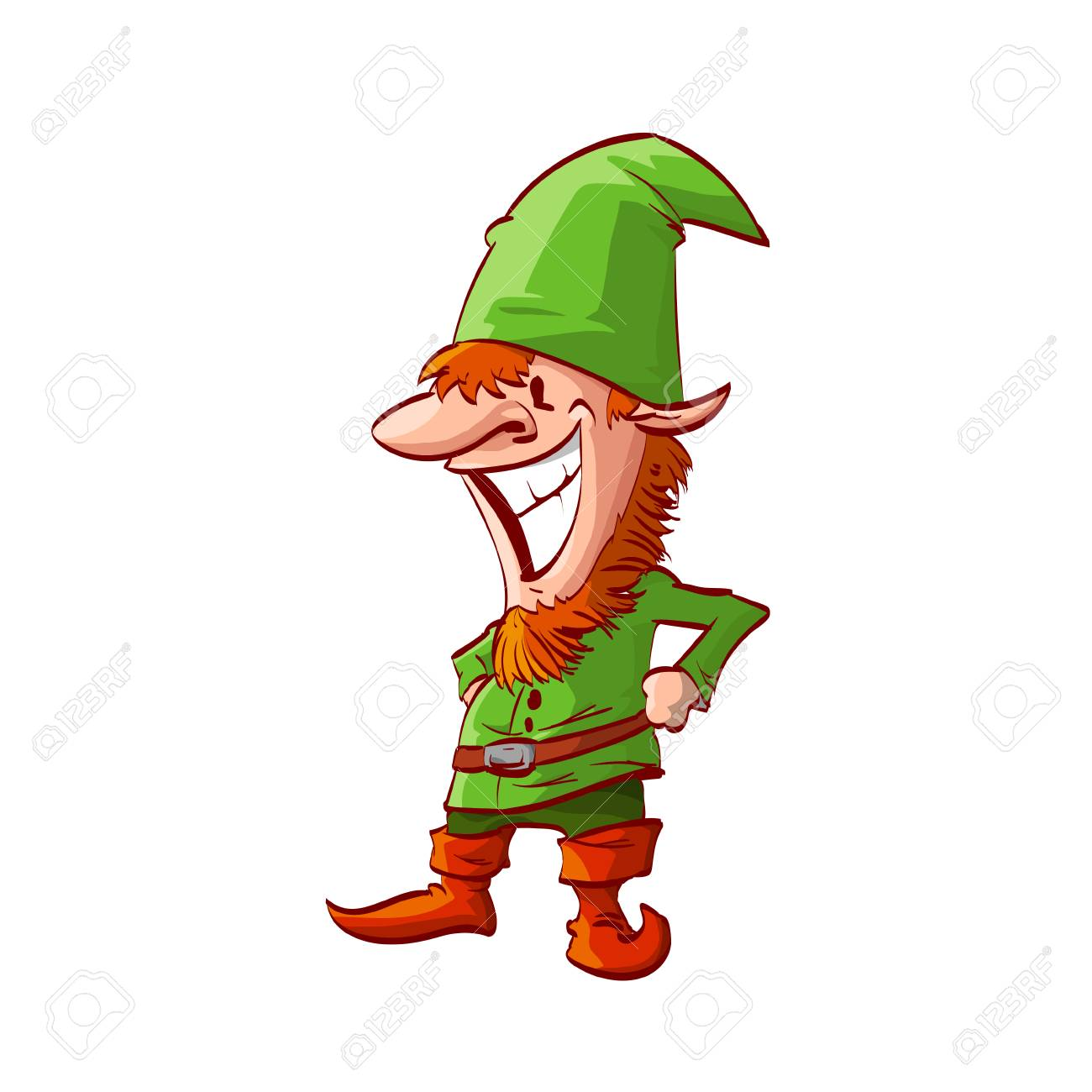 Colorful Vector Illustration Of A Christmas Elf With Green Clothes ...