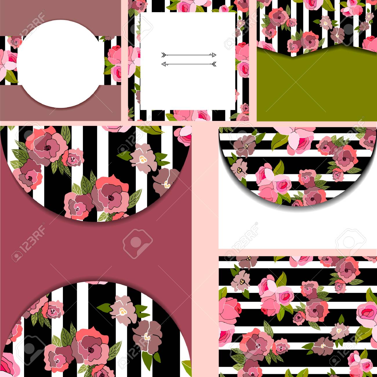 Set Of Templates For Cardsweddingbirthday Invitations With Vintage Floral Pattern Stock Vector