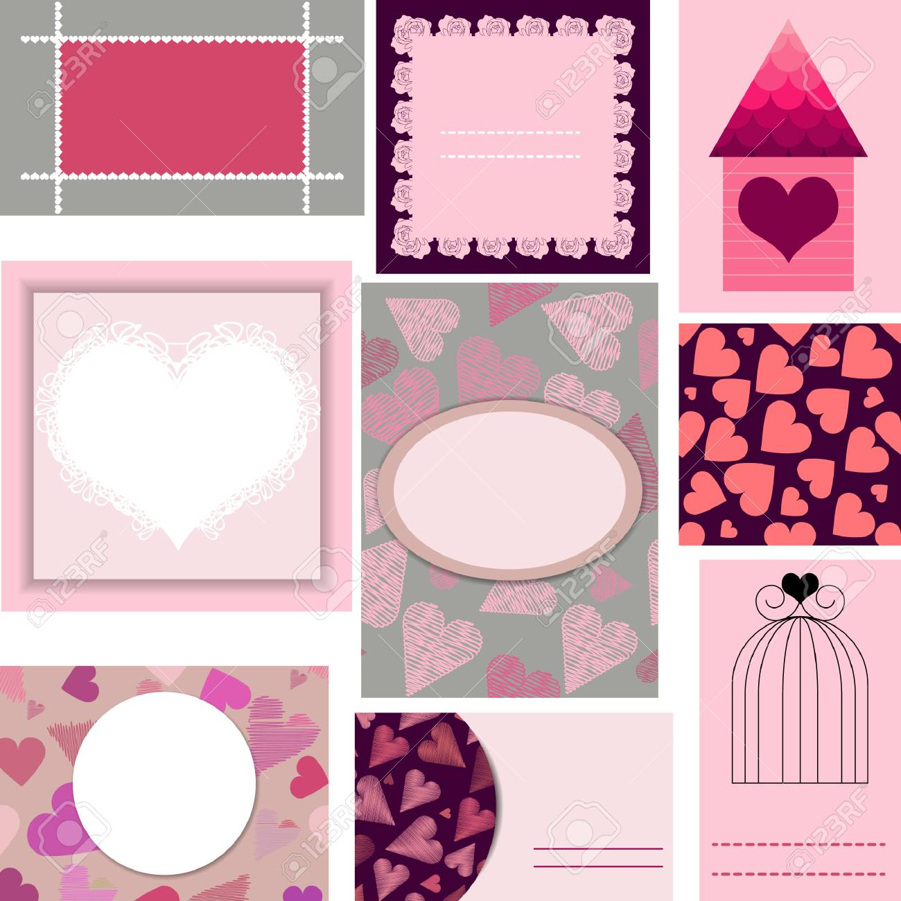 Set Of Templates For Cards Wedding Valentines Day Birthday Invitations
