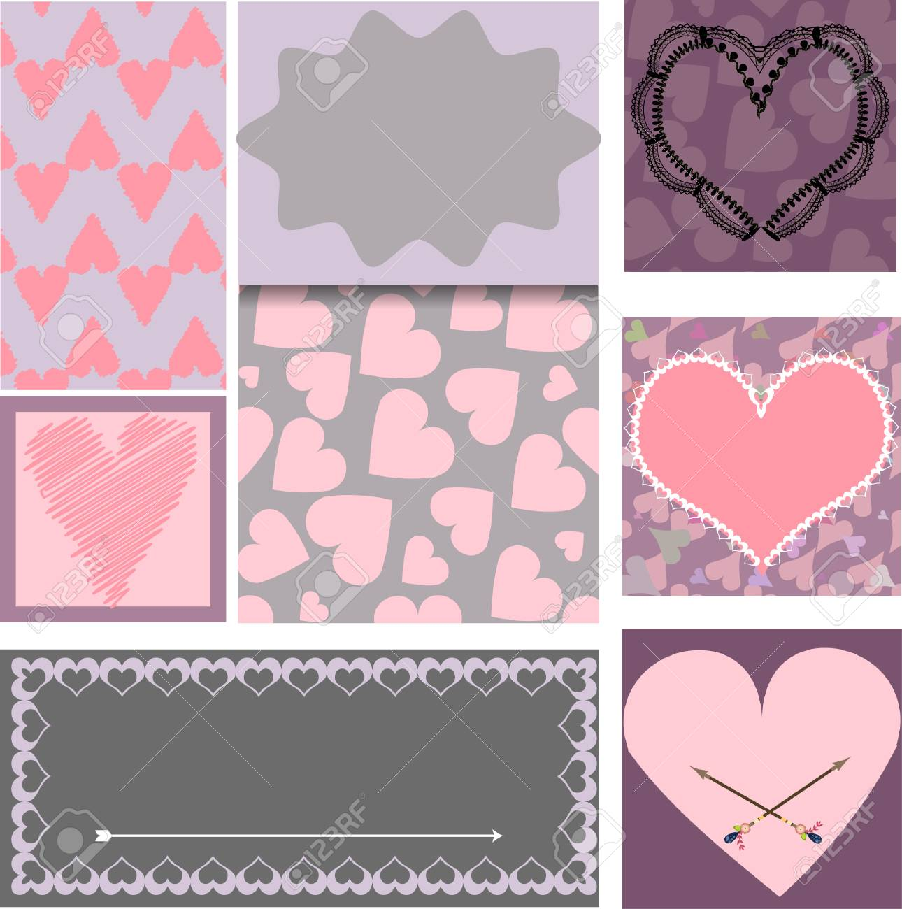 set of templates for cards valentines day wedding birthday
