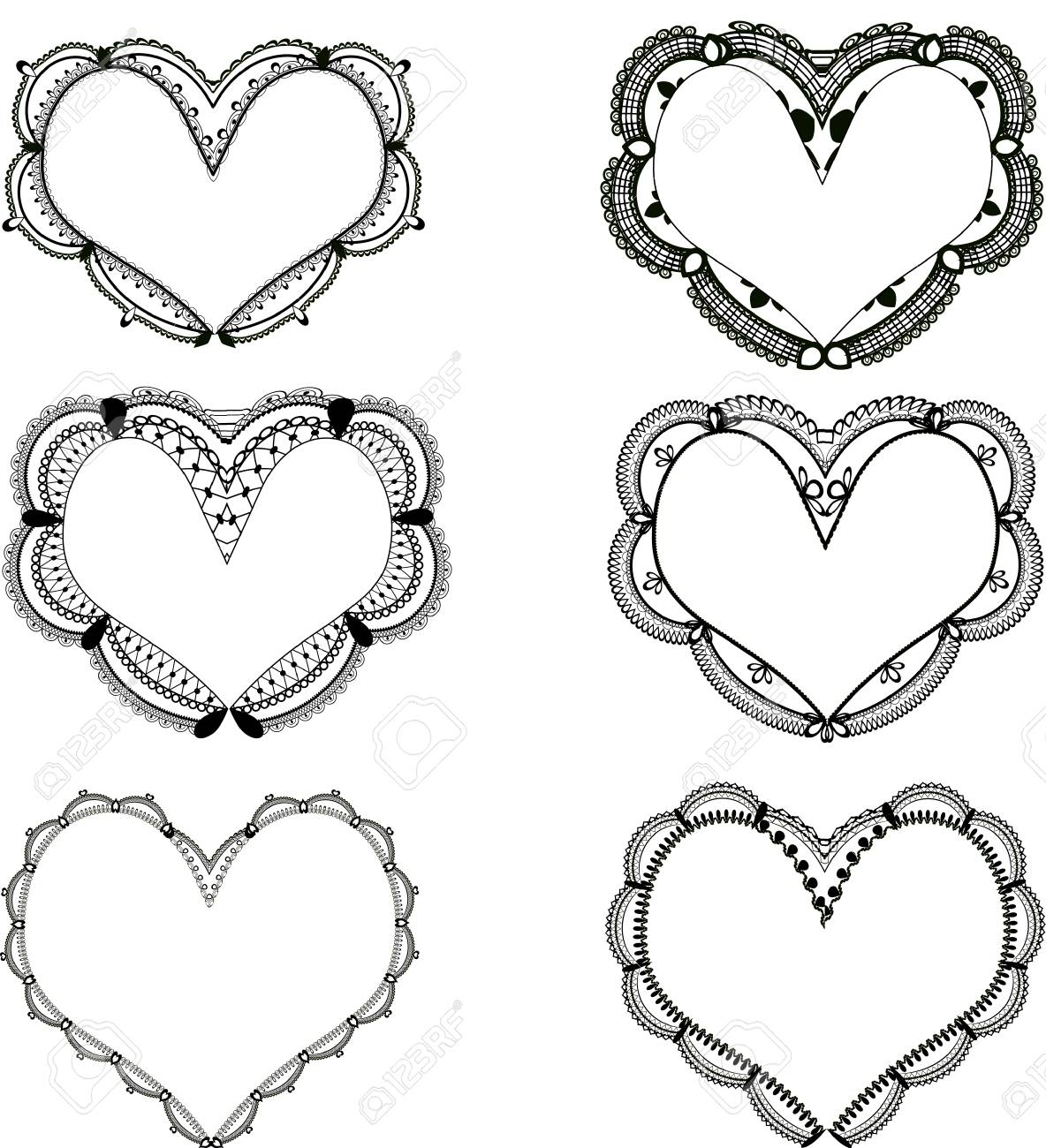Set Of Black Lace Heart Shaped Frames Royalty Free Cliparts, Vectors ...