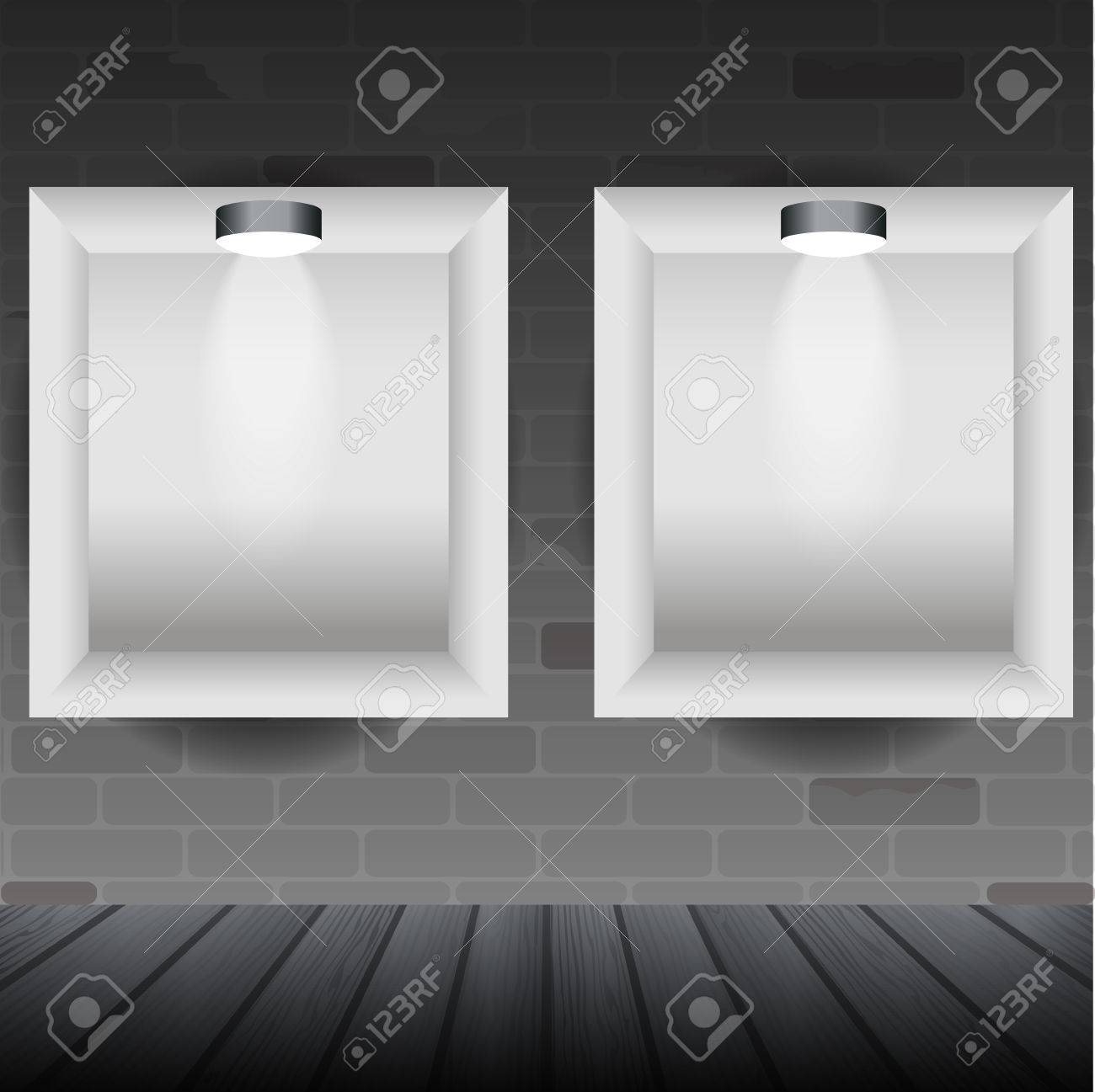 silver modern picture frames. Two Shelves On The Brick Wall, Silver Frames With Lamps, Modern Design  Template Stock Picture I