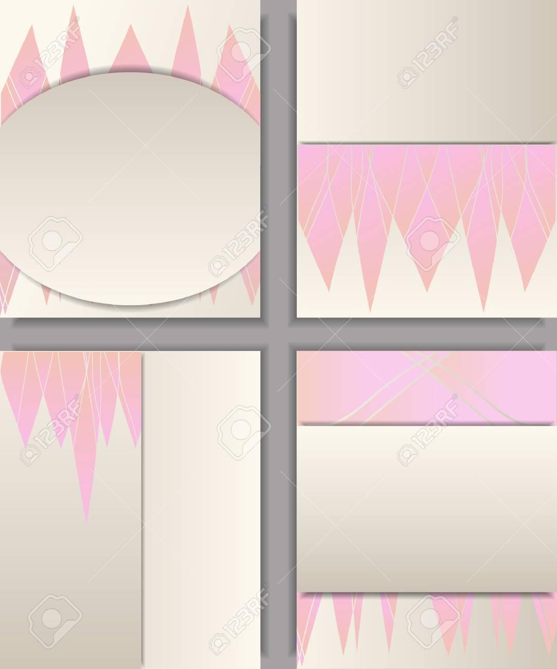 Conjunto De Diferentes Tipos De Plantillas Para Portada Tarjetas De Visita Invitación Carteles Pancartas Con Elementos Geométricos Rosados