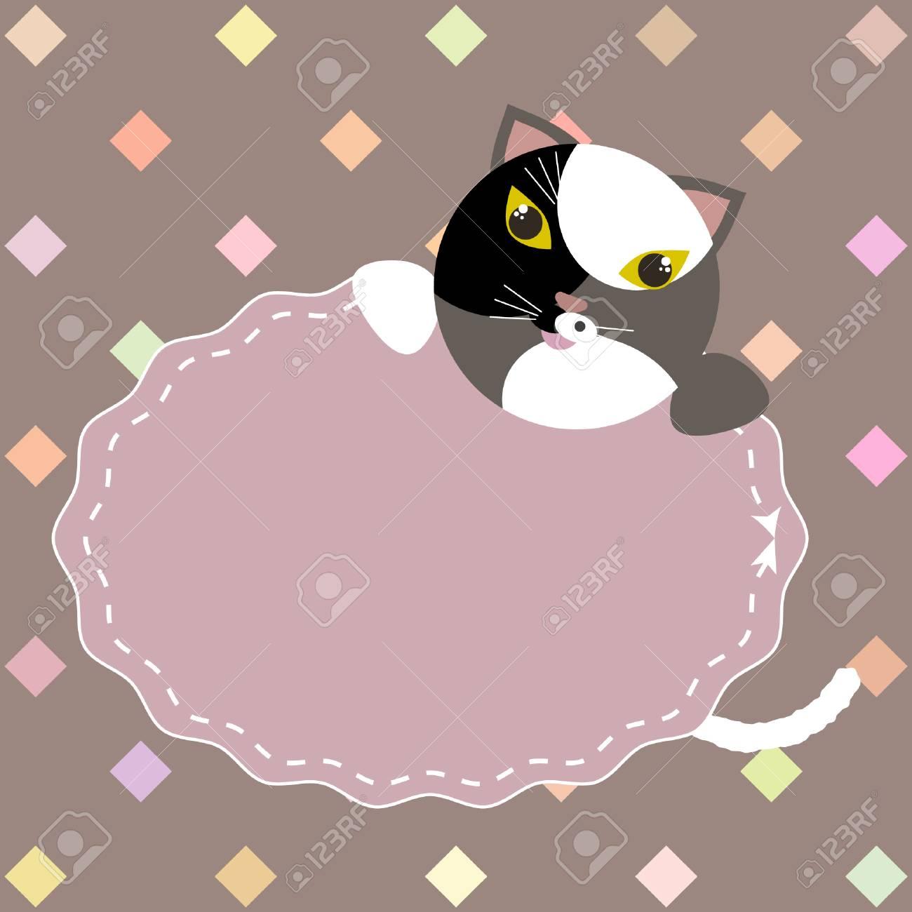 Schablone Für Postkarte, Einladung, Hochzeit, Valentinsgrußtag, Partykarte  Mit Rahmen Und Nette Katze