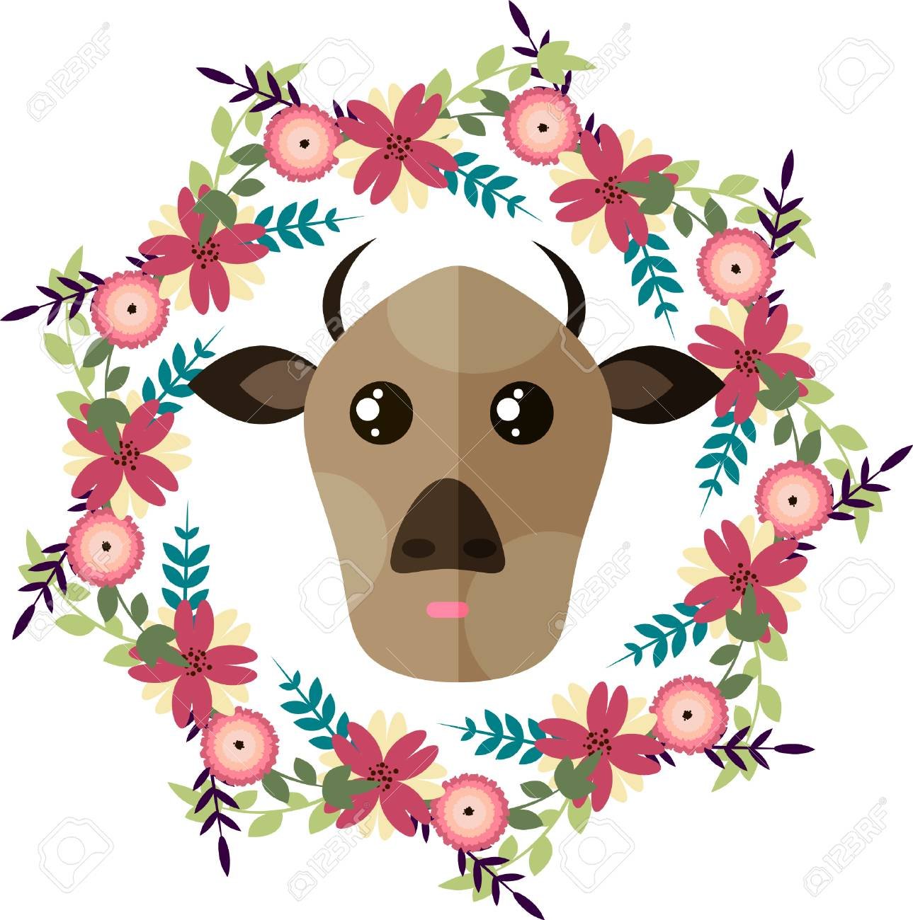 Standard Bild   Vector Illustration Des Kuh  Und Blumenkranzes, Getrennte  Illustration Mit Kuh Und Blumen Für Karte, Einladung, Aufkleber, Knopf,  Tags, ...