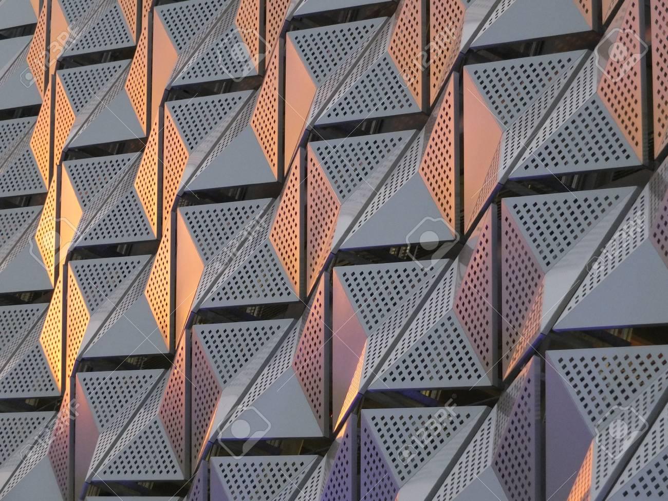 futuristic metallic triangular metal cladding with geometric