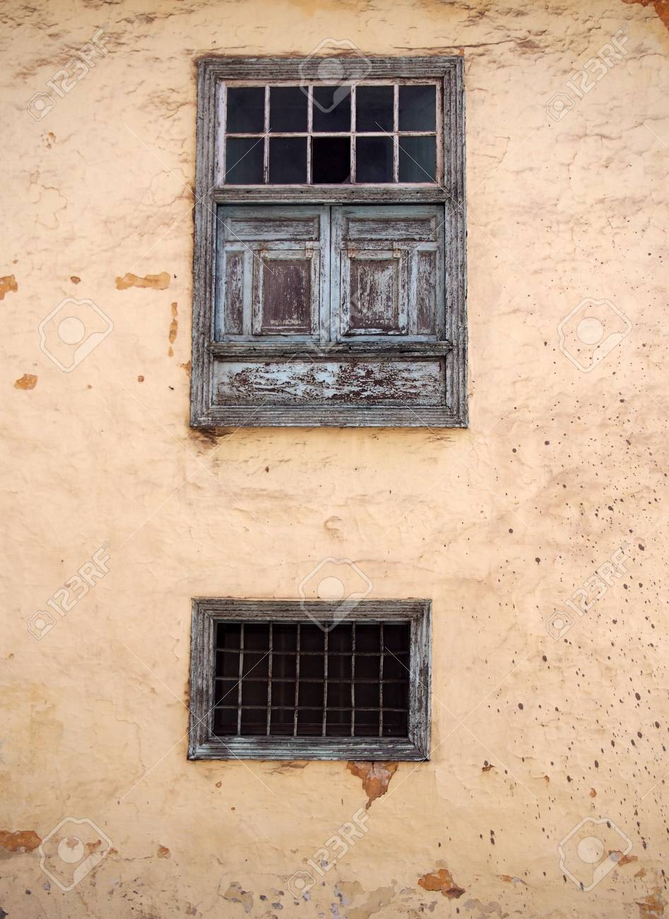 Two Old Wooden Windows With Ancient Faded Peeling Green Paint ... for Wood Window Panels  555kxo