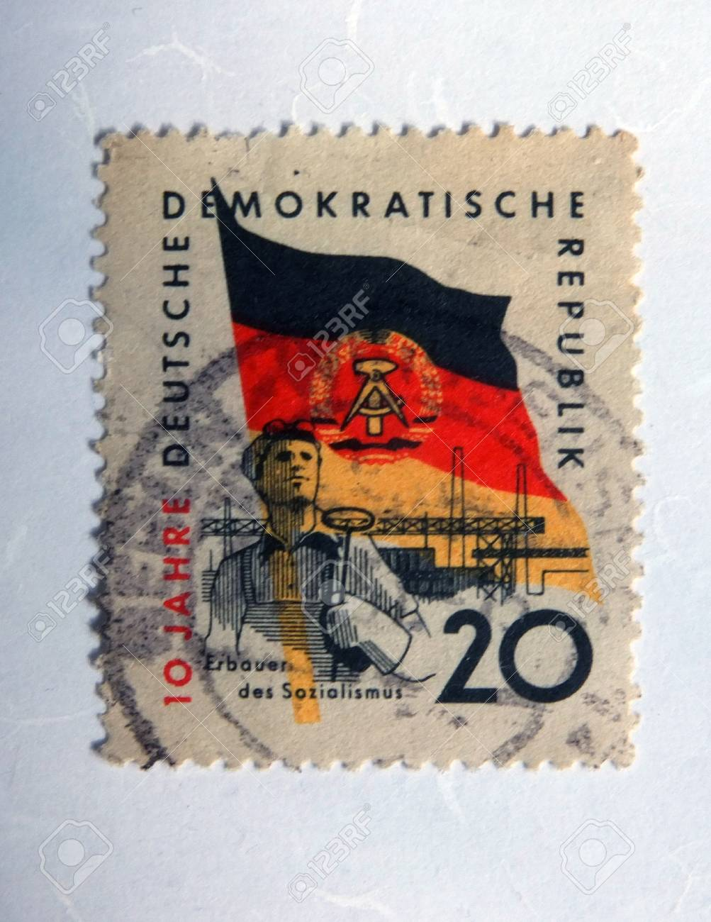 Leeds, England: An old east german postage stamp with an image