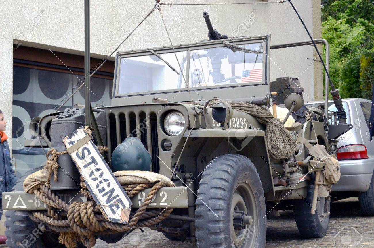 Old Armored Vehicle Of The Second World War, The Jeep With Machine ...
