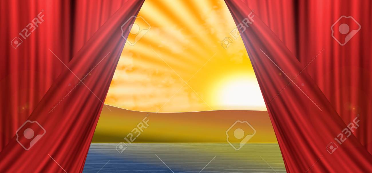 5d8014abf Skyline view of mountains and lake with a setting sun with open theater curtain  Stock Photo