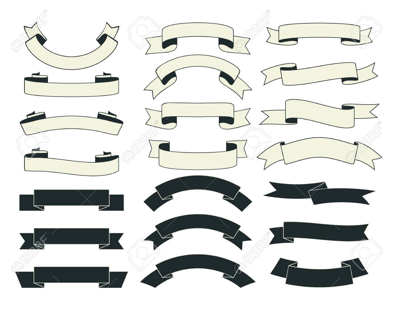 Set of vintage ribbons with black and white color. - 153249540