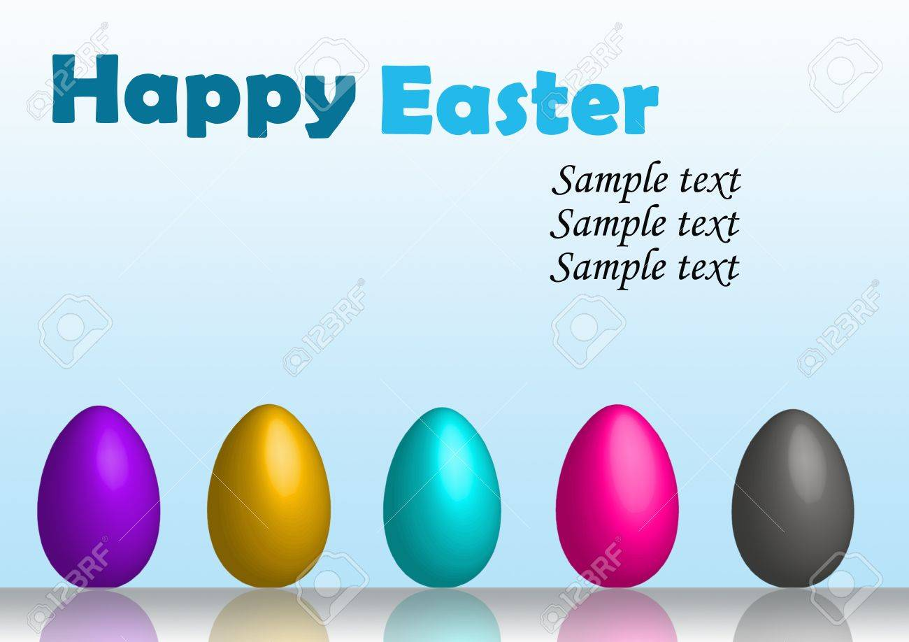 Happy easter eggs in row card Stock Photo - 9023605