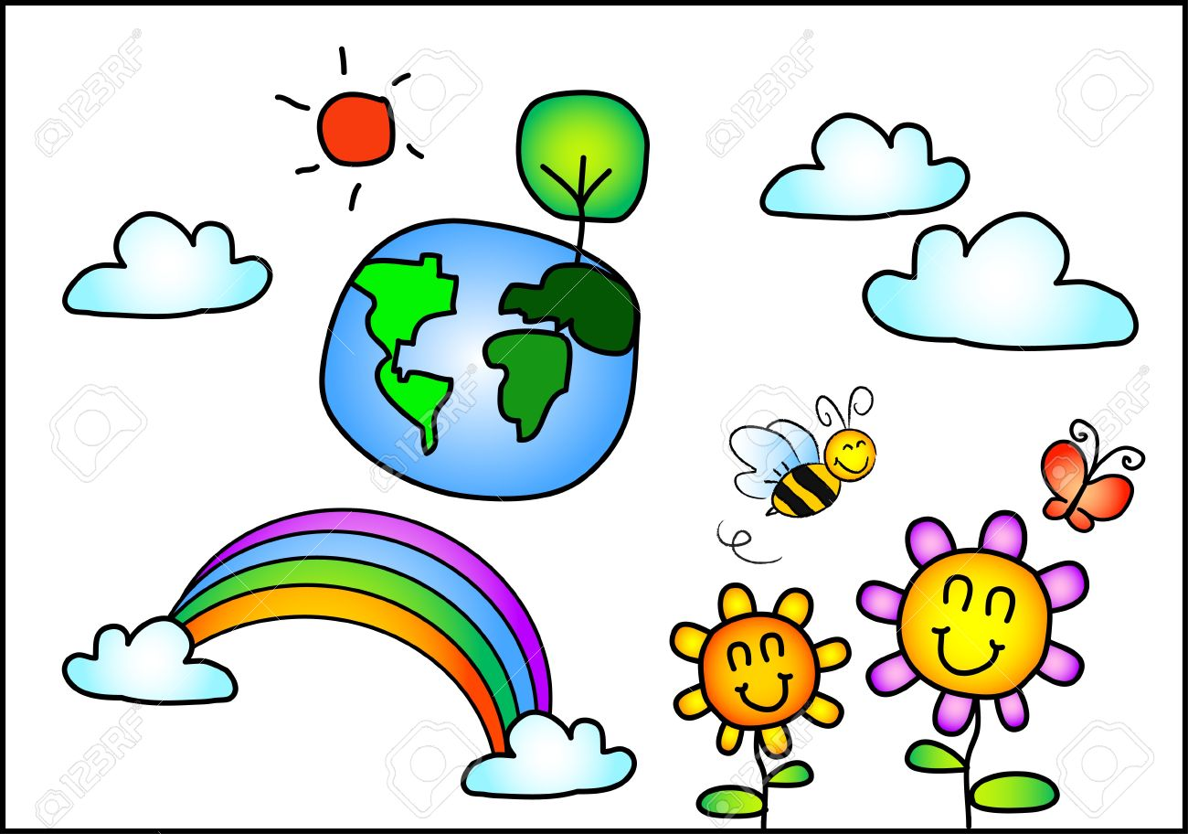 The Vector Kid Drawing Set Of Beautiful World And Nature Royalty