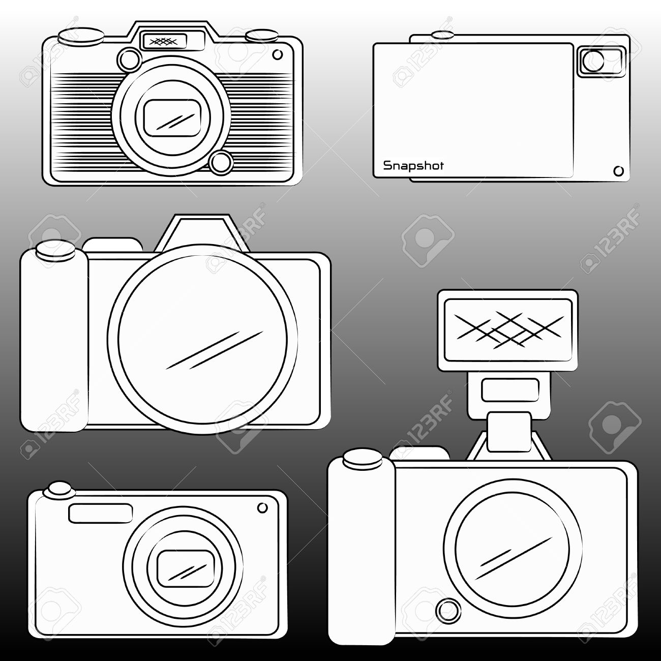 The pencil sketch of dslr and camera stock vector 9769636