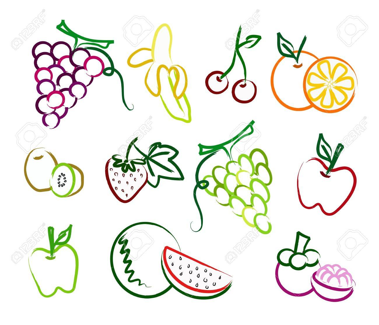 the set of fruit painting icon Stock Vector - 9896552