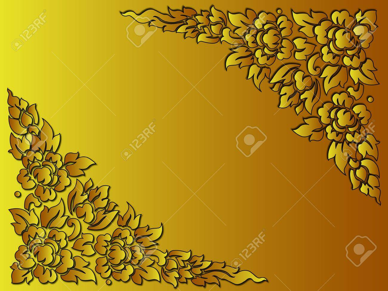 the golden flower thai style use as background or card Stock Vector - 11257764