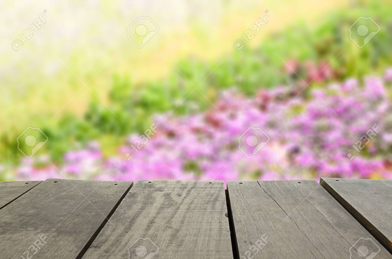 Defocused And Blur Image Of Terrace Wood And Beautiful Violet