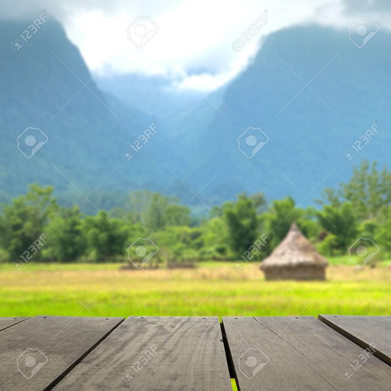 Imagen De Desenfoque Y La Falta De Definición De La Madera Terraza Y Campo De Arroz Medio De La Montaña Para El Uso Del Fondo