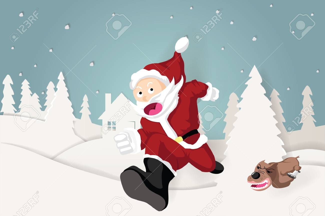 Chase Christmas Eve Hours.Illustration Of The Dog Run To Chase Santa Claus In Christmas