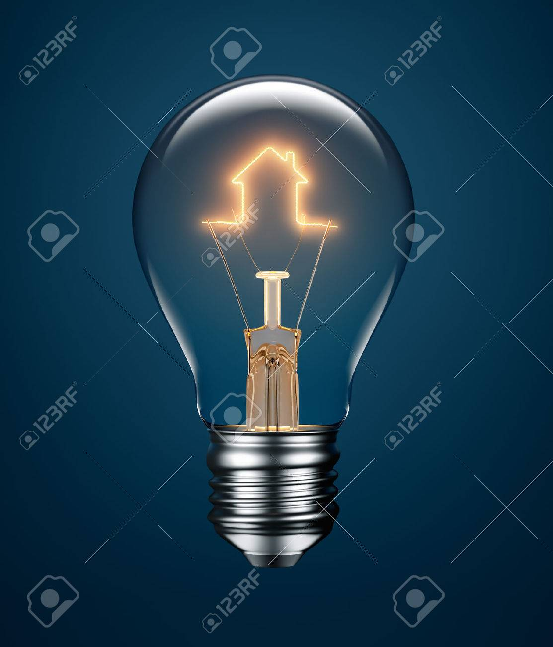 Light Bulb With Filament Forming A House Icon On Blue Background ...