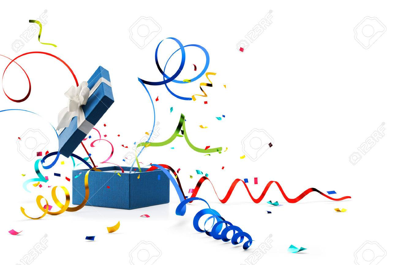 Out box stock photos royalty free business images ribbon and confetti popping out from blue gift box isolated on white stock photo buycottarizona Gallery