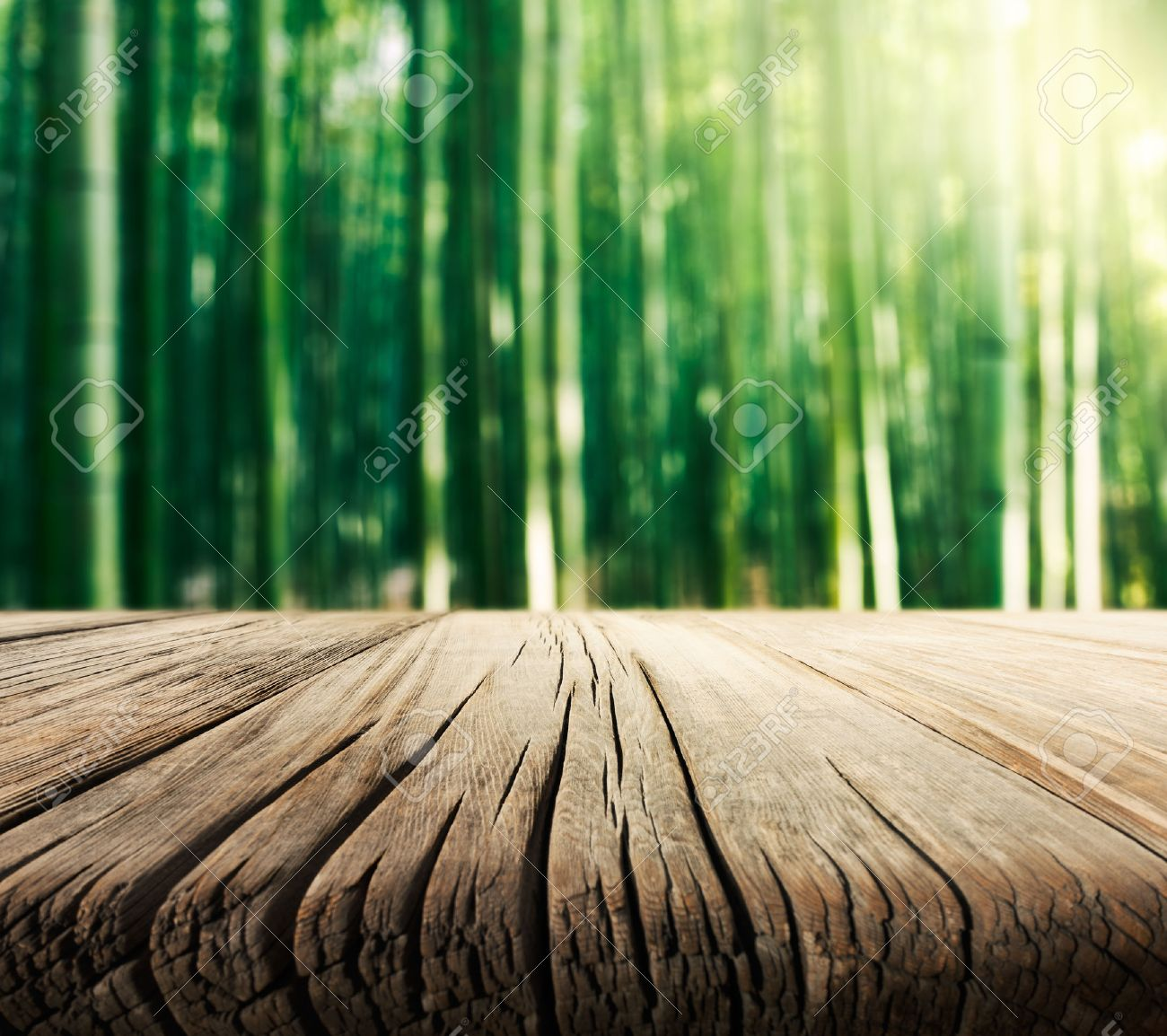 Plain wood table with hipster brick wall background stock photo - Wood Table Perspective Empty Wooden Table With Bamboo Forest Background