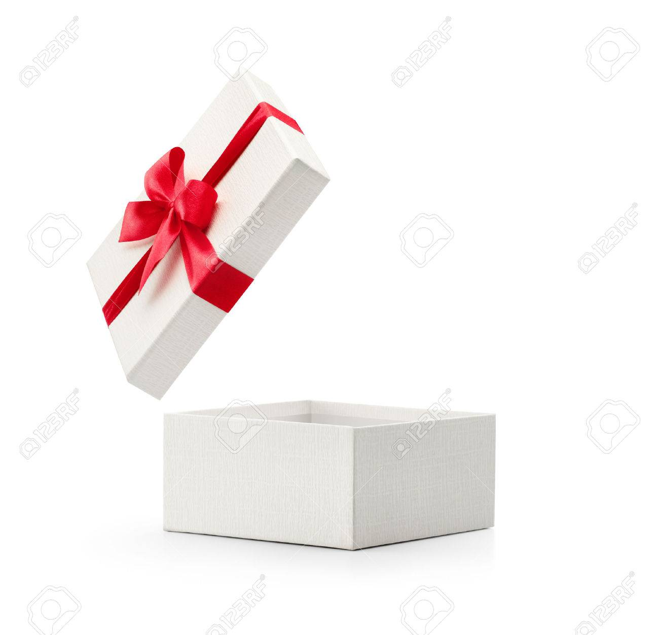 White gift box with red bow isolated on white background - Clipping path included - 50069507