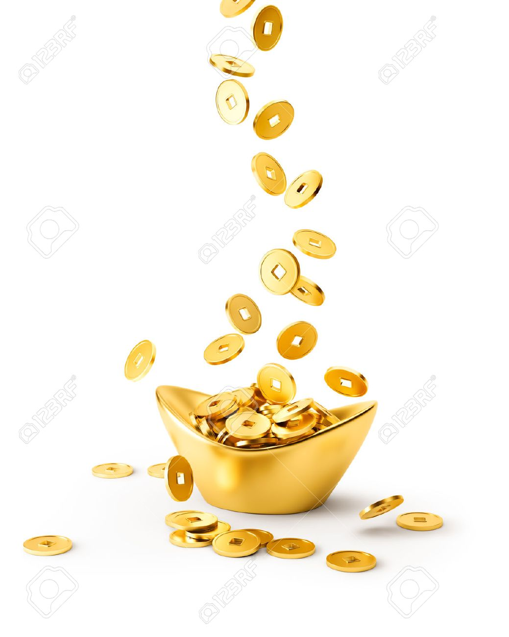 Gold coins dropping on gold sycee ( yuanbao ) isolated on white background - 50224034