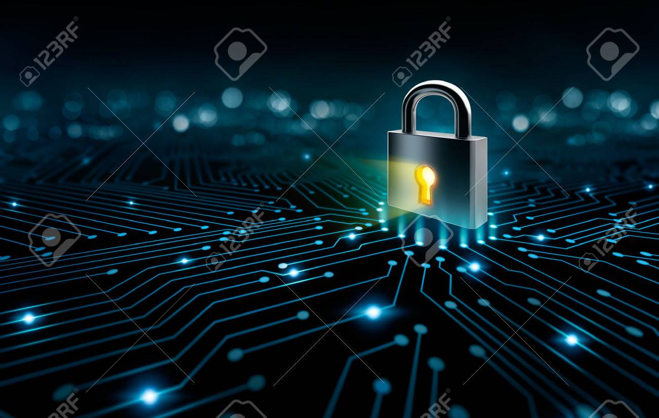 Lock on the converging point on a circuit, security concept - 63989551