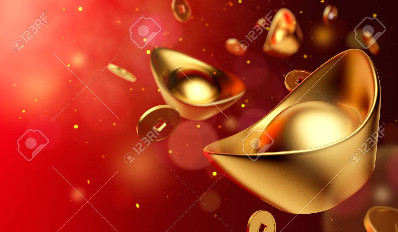 Gold coins and gold sycee ( yuanbao ) on red background, Chinese New Year - 67431597