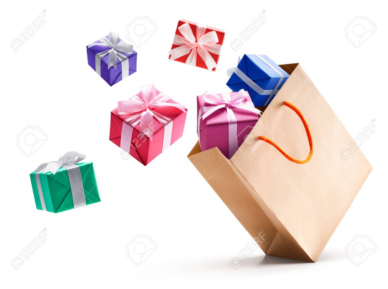 Gift boxes pop out from paper bag isolated on white background - 88795333