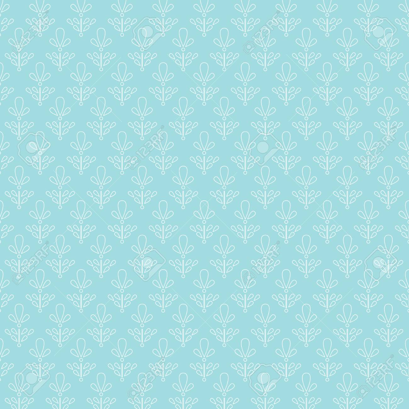 Hand drawn pattern of flowers outline in pale turquoise and mint colors background. Vector illustration