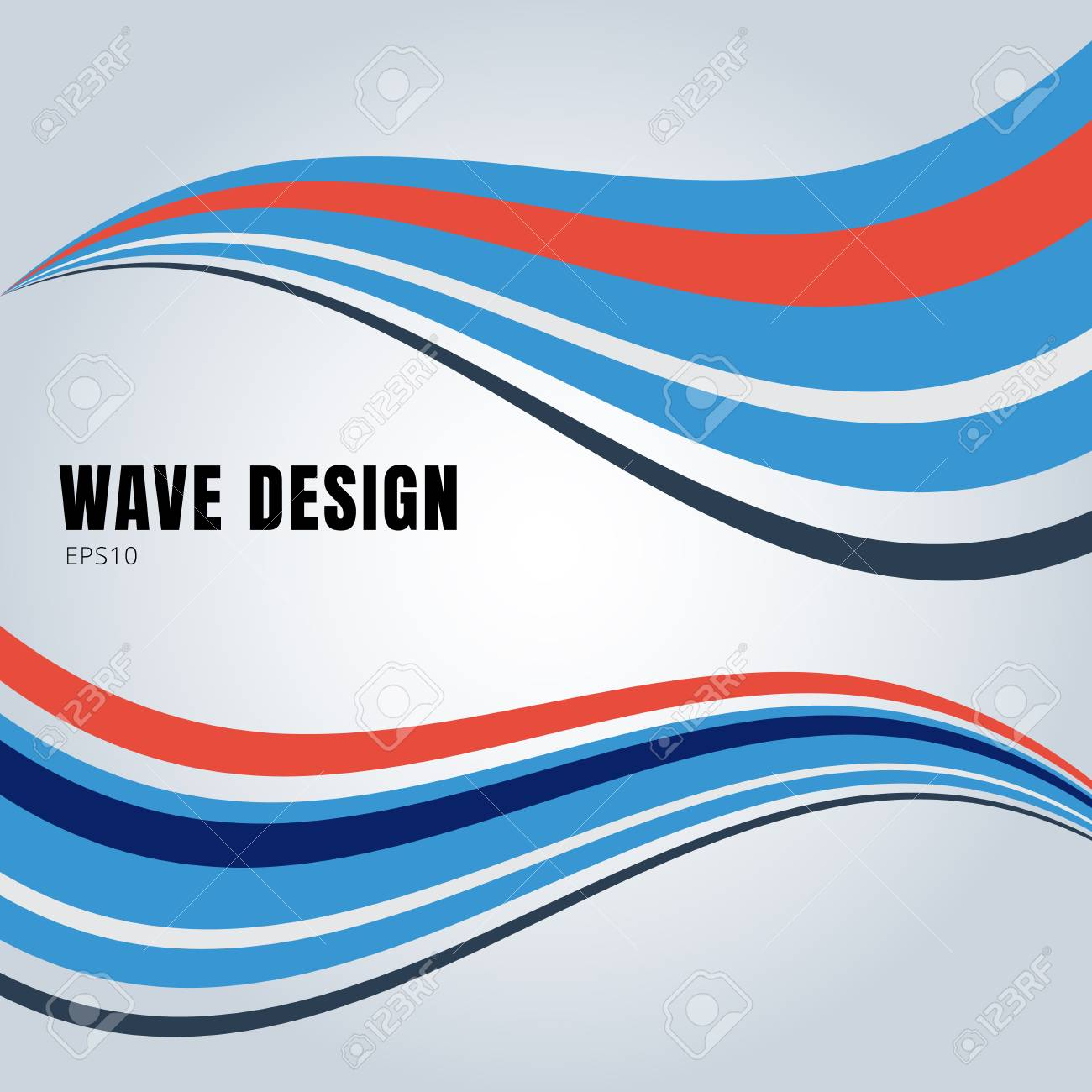 Abstract Blue And Red Color Smooth Waves Design On White Background