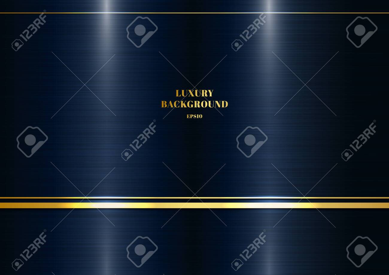 Abstract modern template metallic dark classic blue background with decoration golden line. Luxury style. Vector illustration - 136960043