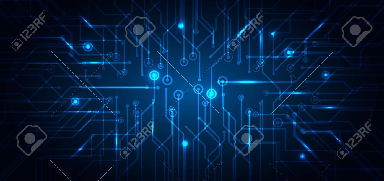 Abstract technology futuristic concept electronic circuit blue glowing on dark background. Technological structure computer business. Vector illustration - 148992297