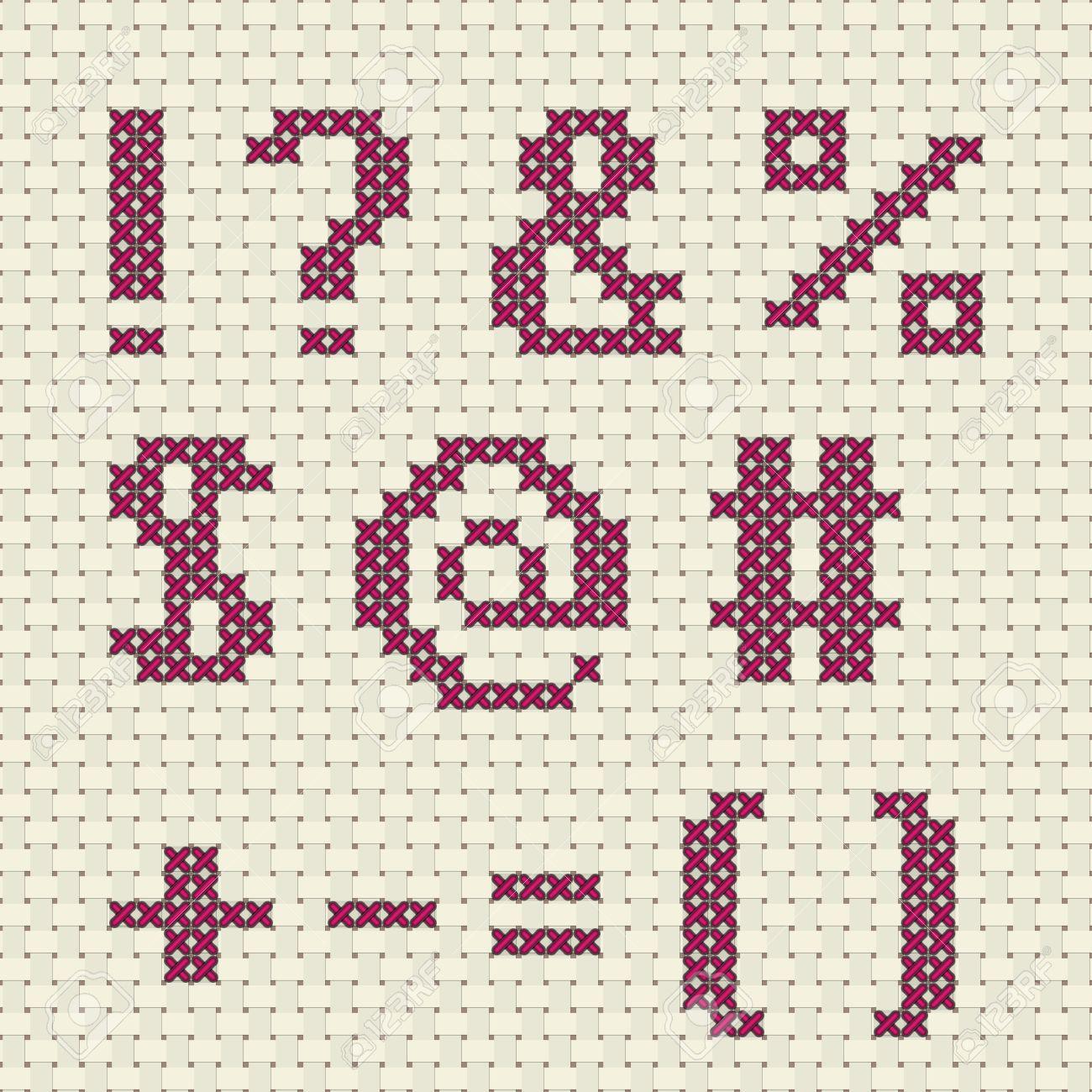 Alphabet Et Numero Dans Le Modele De Point De Croix Clip Art Libres De Droits Vecteurs Et Illustration Image 65741764