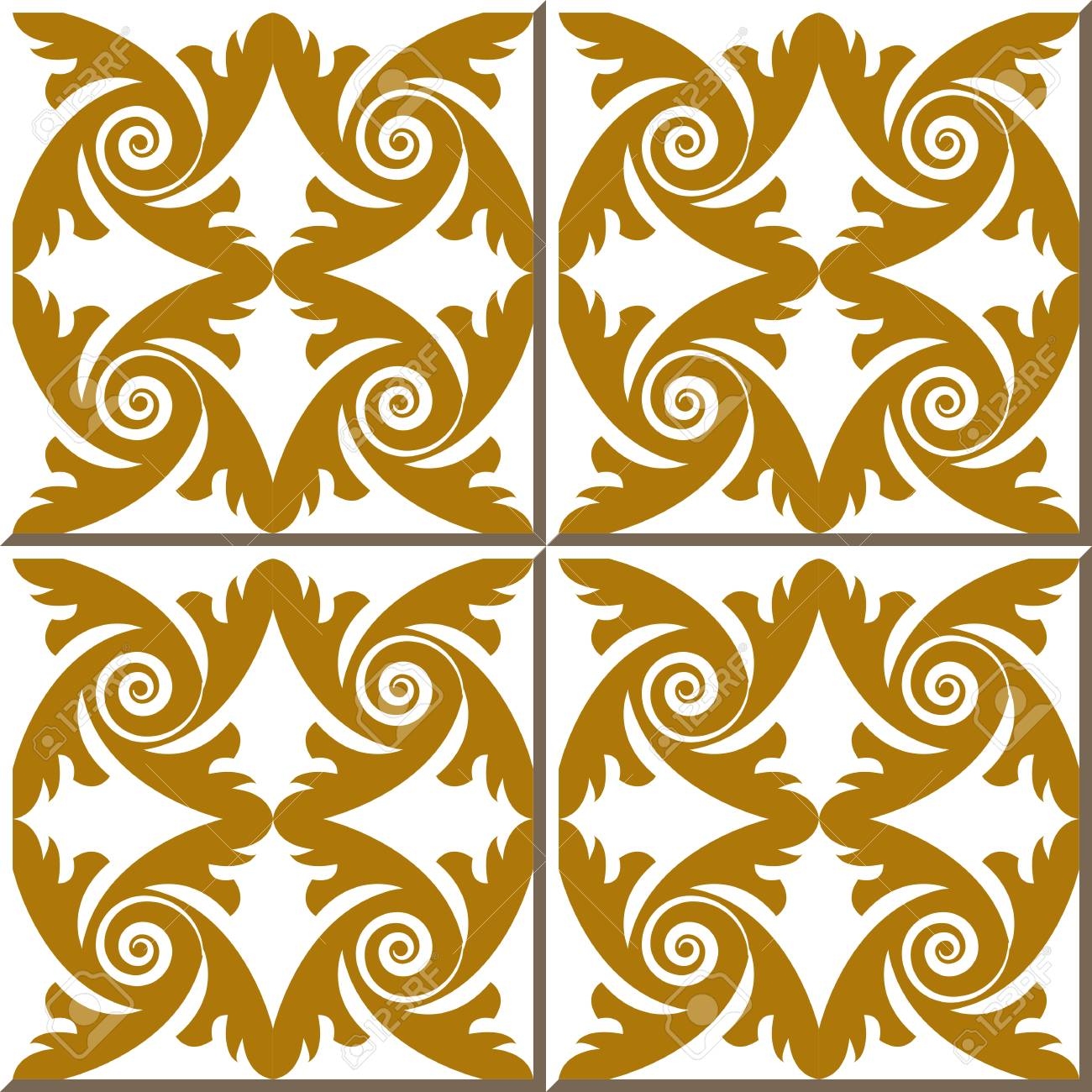 Vintage Seamless Wall Tiles Of Gold Feather Spiral. Moroccan ...