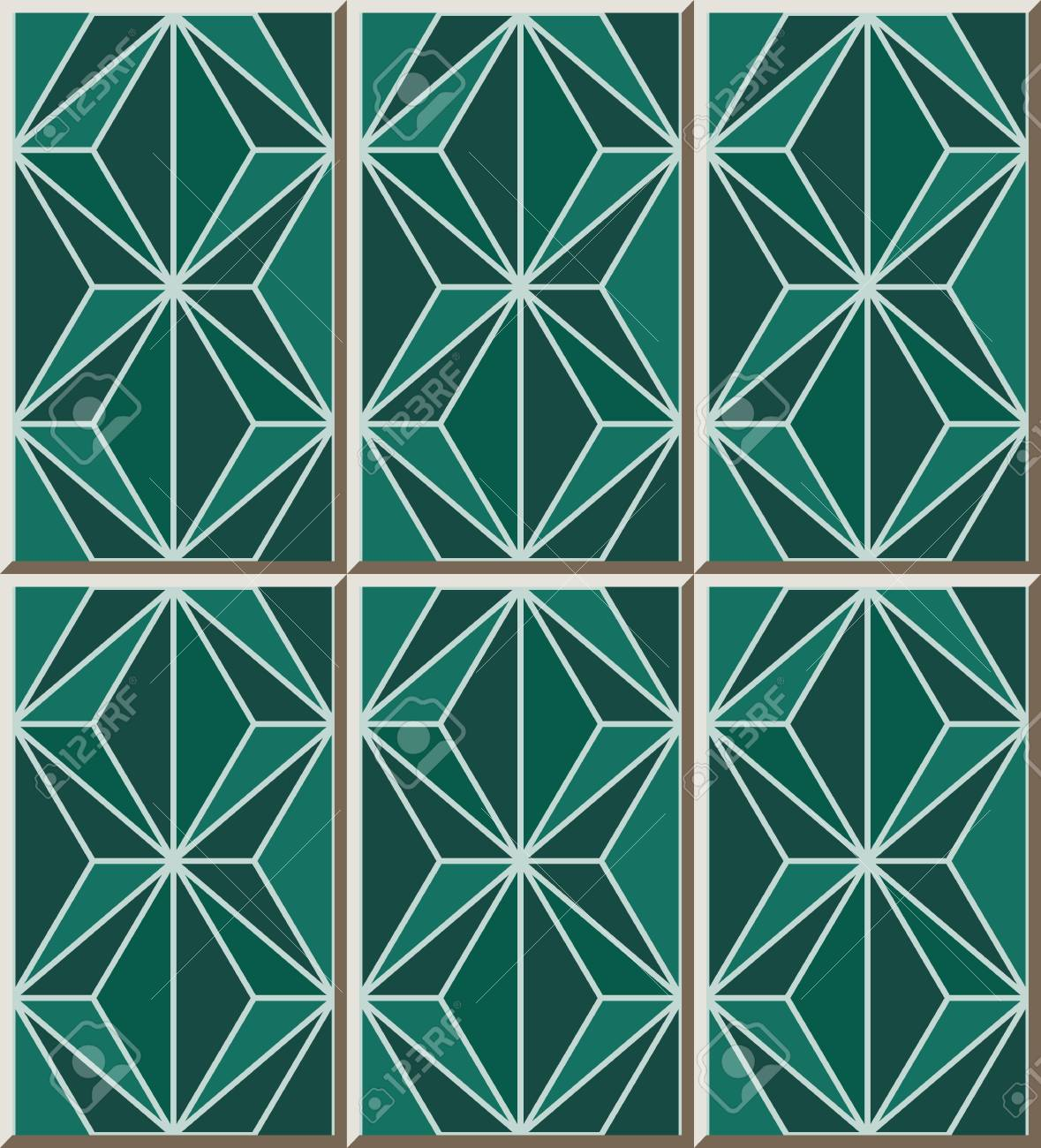 Ceramic Tile Pattern 314_green Mosaic Polygon Cross Line Royalty ...